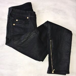 7 For All Mankind Black Coated Skinny Jeans